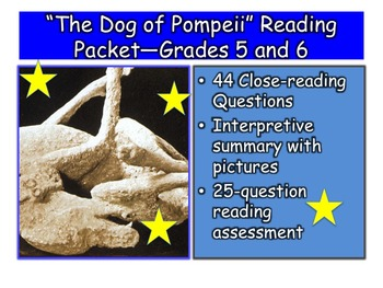 """The Dog of Pompeii"" Close-reading Guide, Summary, and Test—Grades 5 and 6"