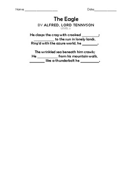 """The Eagle"" by Aflred, Lord Tennyson Memorization Worksheets"
