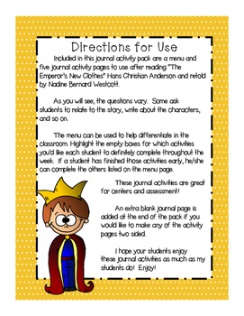 """""""The Emperor's New Clothes"""" Supplemental Journal Activity Pack"""