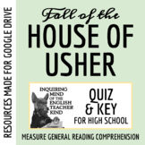"""""""The Fall of the House of Usher"""" by Edgar Allan Poe - Quiz & Key"""