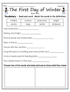 """""""The First Day of Winter"""" Activities for Guided Reading & Writing"""