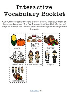 The First Thanksgiving Language Activities - vocabulary and comprehension