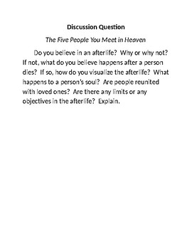 """The Five People You Meet in Heaven"" Discussion Question"