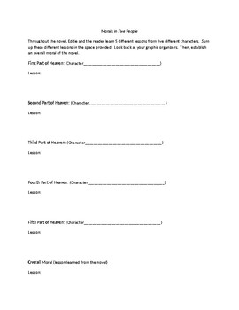 """""""The Five People You Meet in Heaven"""" Themes Worksheet"""