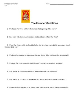 """""""The Founder"""" Movie Guide Questions"""