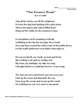 The Funeral Blues Poetry Analysis Wh Auden