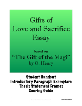 """""""The Gift of the Magi"""" Essay - Gifts of Love and Sacrifice; Secondary ELL"""