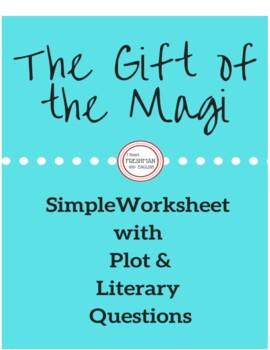 """The Gift of the Magi"" Simple Woksheet"