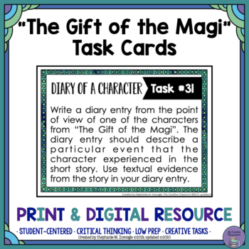 """""""The Gift of the Magi"""" by O. Henry Task Cards with EDITABLE Templates"""