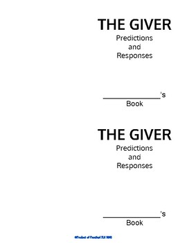 """The Giver"" Mini Reflexive Reading Booklet"
