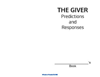 """The Giver"" Reflexive Reading Booklet"