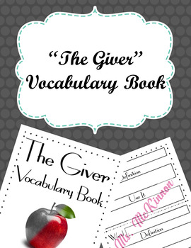 """""""The Giver"""" Vocabulary Book"""