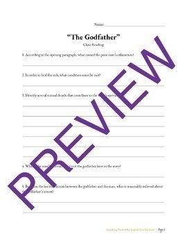 """""""The Godfather,"""" a Grimms' Fairy Tale, Close Reading Questions & Text"""