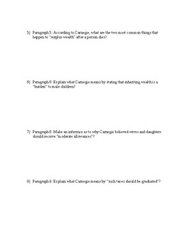 """""""The Gospel of Wealth"""" by Andrew Carnegie--text dependent questions"""