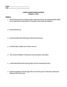 """The Great Gatsby"" Chapters 4 and 5 Guided Reading Questions"