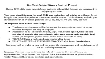 The great gatsby literary analysis essay