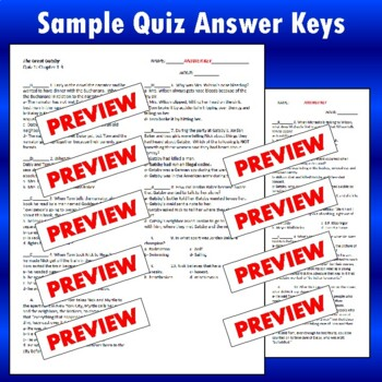 """""""The Great Gatsby"""": Reading Quizzes with Answer Keys"""