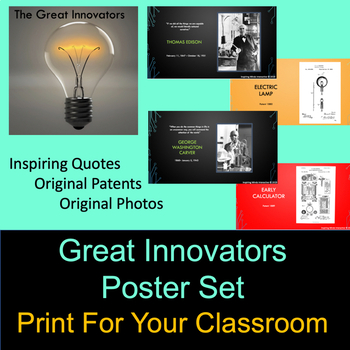 """""""The Great Innovators"""" Poster Set 1 - STE(A)M - Google Classroom Compatible"""