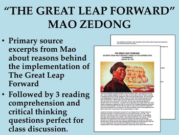 """""""The Great Leap Forward"""" reading with questions - Mao Zedong"""