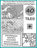 """The Great Wave"" by Hokusai COLLABORATIVE Activity Coloring Pages"