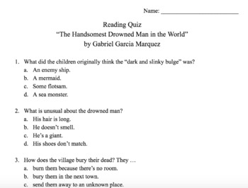 """The Handsomest Drowned Man in the World"" by Gabriel Garcia Marquez Quiz and Key"