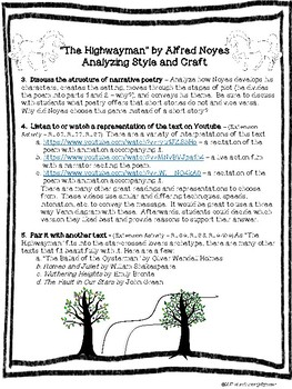 """""""The Highwayman"""" - Analyzing Author's Craft in Poetry Lesson Plan"""