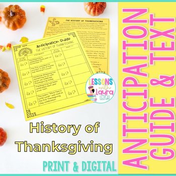"""""""The History of Thanksgiving"""" Reading Passage and Anticipation Guide"""