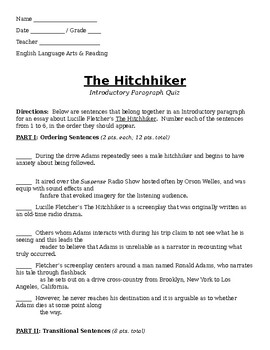 """The Hitchhiker"" by Lucille Fletcher - Paragraphing Quiz"