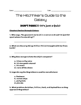 """""""The Hitchhiker's Guide to the Galaxy"""" - Quizzes and Final Test"""