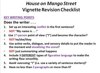 """The House on Mango Street"" Vignette Writing Task"