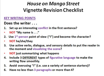 """The House on Mango Street"" Vignette Writing Task"