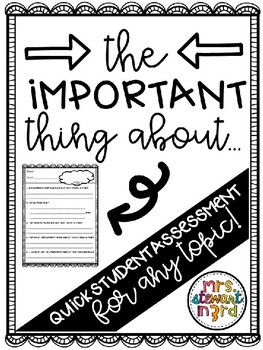 """The Important Thing About..."" assessment for ANY topic!"