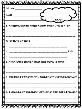 """""""The Important Thing About..."""" assessment for ANY topic!"""