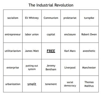 """""""The Industrial Revolution"""" Vocabulary Bingo for a World History Course"""