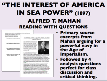 """""""The Interest of America in Sea Power"""" - Document with Questions - USH/APUSH"""