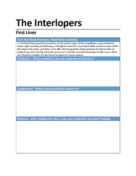 """""""The Interlopers"""" First Lines Pre-reading Activity"""