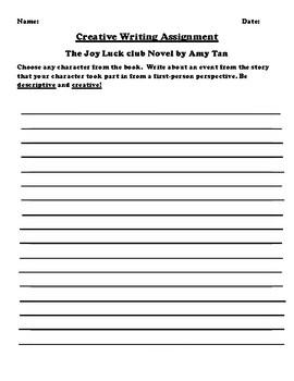 """The Joy Luck club"" by Amy Tan Creative Writing"