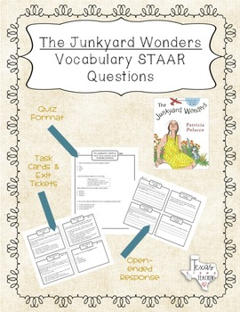 """""""The Junkyard Wonders"""" Vocabulary STAAR Questions and Task Cards"""