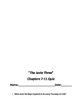"""""""The Juvie Three"""" Chapter quizzes"""