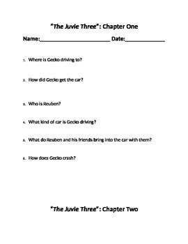"""""""The Juvie Three"""" Chapter questions"""