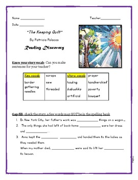 """""""The Keeping Quilt"""" by Patricia Polacco, Reading and Language Discovery"""