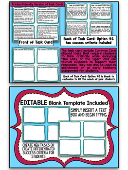 """""""The Lady, or the Tiger"""" Bundle- Close Reading Unit and Task Cards"""