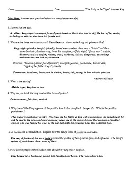 """The Lady or the Tiger"" Review Worksheet (or Test) and Comprehensive Answer Key"
