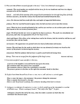 """""""The Lady or the Tiger"""" Review Worksheet (or Test) with Comprehensive Answer Key"""