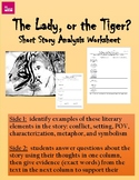 """""""The Lady or the Tiger""""  Short Story Analysis Worksheets"""