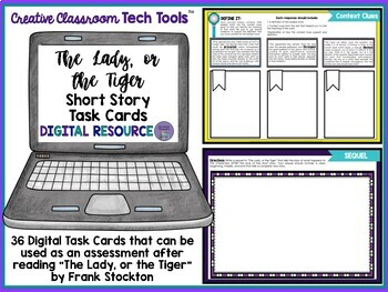 """The Lady, or the Tiger"" by Frank Stockton Task Cards with EDITABLE Templates"