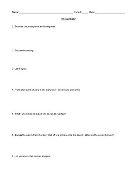 """The Landlady"" Assessment or Review Worksheet and Detailed Answer Key"