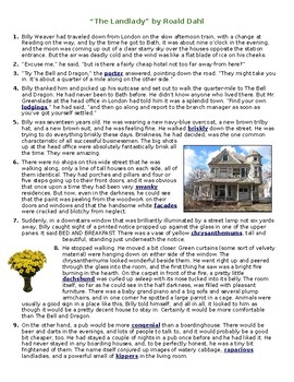 """The Landlady"" setting story element worksheet"