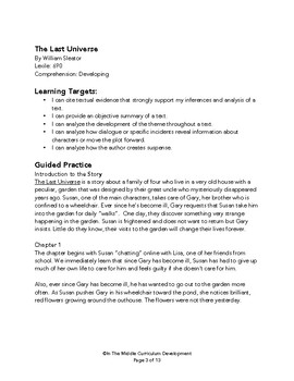 """The Last Universe"" Novel Study"