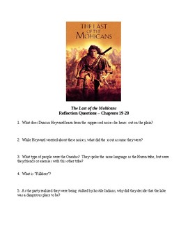 """The Last of the Mohicans"" - Supplemental Study Packet"